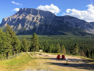 Adirondack chairs overlooking Mount Rundle from Tunnel Mountain viewpoint Banff National Park Alberta Canada, Canadian Rocky Mountains