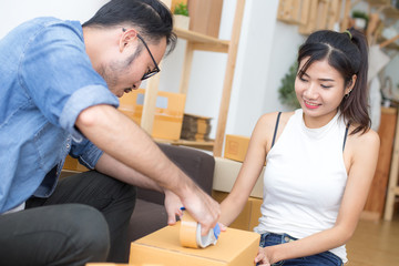 Young Asian People Working at home, Young Owner People Start up for Business Online, SME, Delivery Project, People with Online Business or SME Concept.