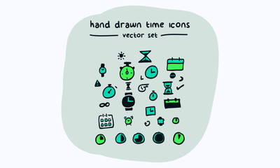 Time Hand Drawn Vector Icon Set