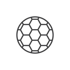 Soccer ball line icon, outline vector sign, linear style pictogram isolated on white. Football symbol, logo illustration. Editable stroke