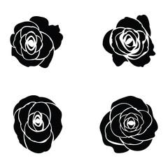 Black silhouette of rose