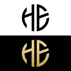 he initial logo circle shape vector black and gold