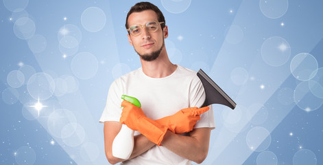 Glittered background with male housekeeper