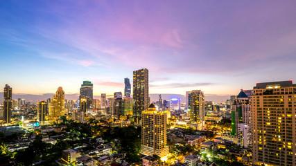 Bangkok city - cityscape of Bangkok city at night  , landscape Thailand