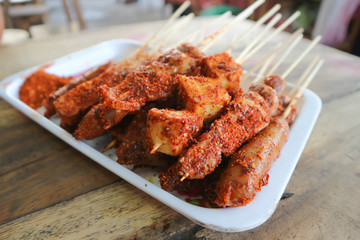 spicy barbecue or grilled sausage