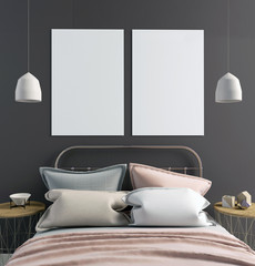 Mock up poster in bedroom interior. Bedroom Scandinavian style. 3d illustration