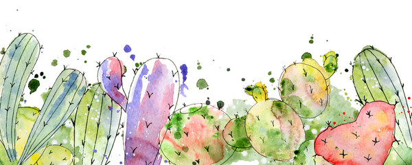 Tropical cactus arrangements, borders, frames watercolor cacti print