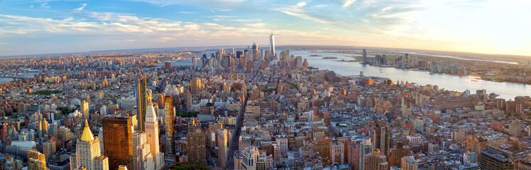New York City Manhattan panorama before sunset