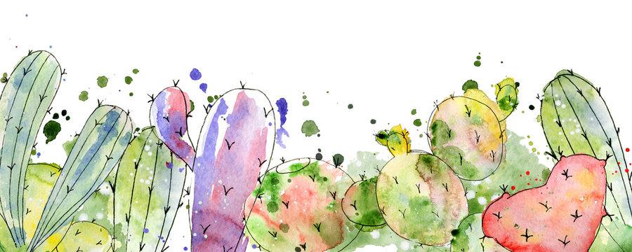 Tropical cactus arrangements, borders, frames watercolor cacti print