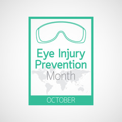 Eye Injury Prevention Month vector icon illustration