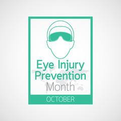 Eye Injury Prevention Month vector icon illustration