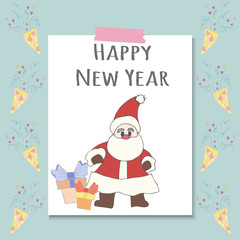 Santa Claus with gifts and words Happy New Year.