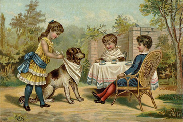 Children's games. The tea party.