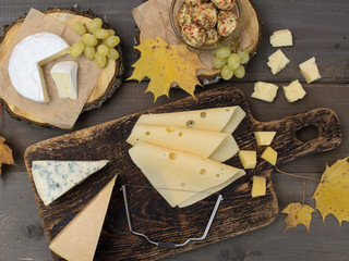 cheese on a wooden table.