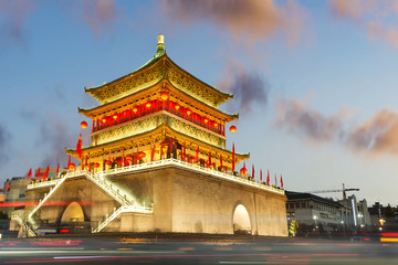 ancient city xian bell tower in nightfall Fototapete