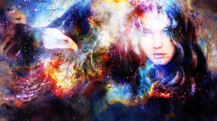 Goodnes woman and eagles. Cosmic Space background.