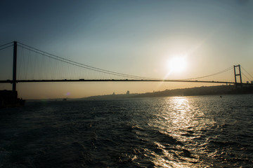 Bosporus bridge  new name 15 Temmuz Sehitler Bridge at sunset time
