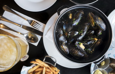 Belgian lunch: steamed mussels, french fries and beer
