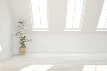 White empty room with green flower. Scandinavian interior design. 3D illustration