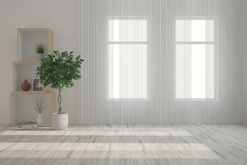 White empty room with green flower. Scandinavian interior design. 3D illustration