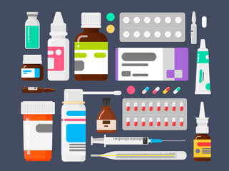 Set of medicines. Means from illnesses. Tablets a thermometer, a syringe and ampoules