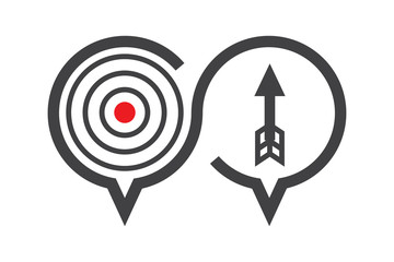 Chat, discussion icon about solution or target, how to success concept, present by arrow and aim, vector illustration.