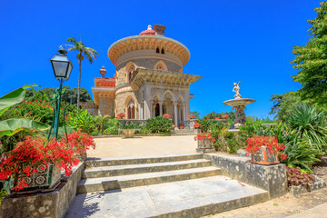Sintra, Portugal famous landmark. The arabesque Monserrate Palace or Palacio de Monserrate, the summer resort of Portuguese court. European travel. Sunny day in the blue sky.