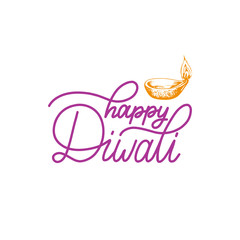 Diwali festival poster with hand lettering. Vector lamp illustration for Indian holiday greeting or invitation card.