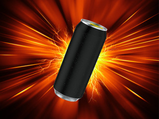 Energy Drink Can Template. Red background. 3d render