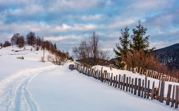 snowy path through rural area in mountains. lovely countryside scenery of wooden fence and naked trees