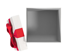 Open empty gift box from above, isolated on white, 3d