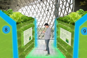 Wall Mural - smart agriculture in futuristic concepts,smart farmer monitor, keep tracking data about water level, humidity, ph, ic, carbon dioxide, air and water temperature in the urban o,vertical and indoor farm