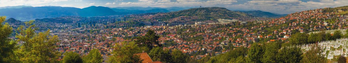 Beautiful Panorama of Sarajevo, Bosnia and Herzegovina