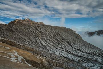 Lake and Sulfur Mine at Khawa Ijen Volcano Crater, Indonesia