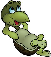 Green Turtle Relaxing - Cartoon Illustration, Vector