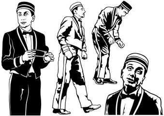 Bellhop Set - Black and White Illustration, Vector