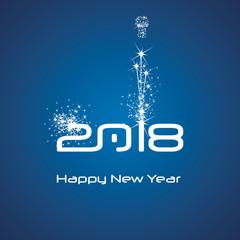 New Year 2018 cyberspace firework white blue background