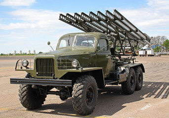 Katyusha multiple rocket launcher from the World War II at retro military exhibition