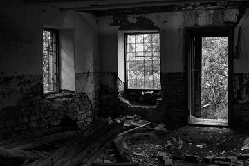 Abandoned building from the inside, black and white photo