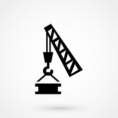 pictograph crane hook, lifting work, installation works, building, fully editable vector image icon