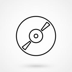 Music cd disc thin line vector icon art