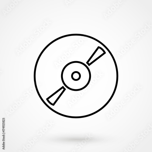 Music Cd Disc Thin Line Vector Icon Art Stock Image And Royalty
