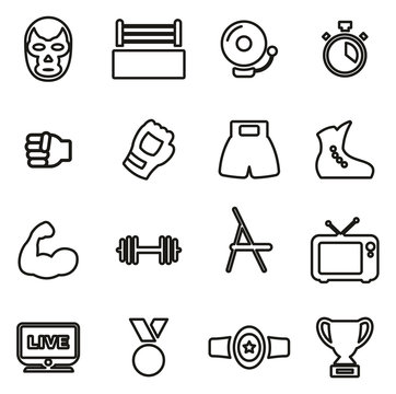 Wrestling Icons Thin Line Vector Illustration Set
