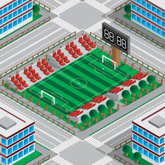Map of the stadium with a football field. Isometric. Vector illustration.