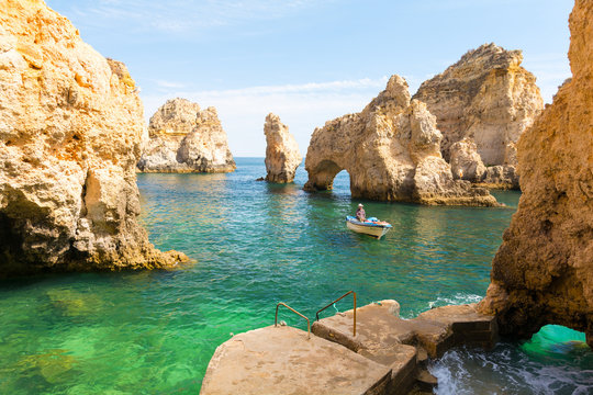 beautiful cliff Ponta da Piedade in Lagos, Algarve, Portugal