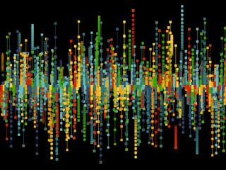 Generative random square line background. Concept of blockchain, fintect, big data, hacking, AI. Vector illustration