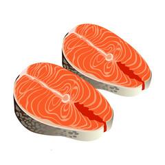Illustration of steak of salmon