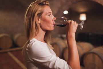 Beautiful woman oenologist tasting wine