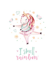 Isolated cute watercolor unicorn clipart. Nursery unicorns illustration. Princess unicorns poster. Trendy miracle pink cartoon horse.
