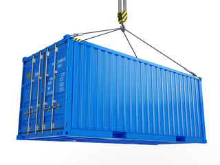 Delivery, cargo, shipping concept - blue cargo container hoisted by crane hook isolated on white. 3d illustration - fototapety na wymiar